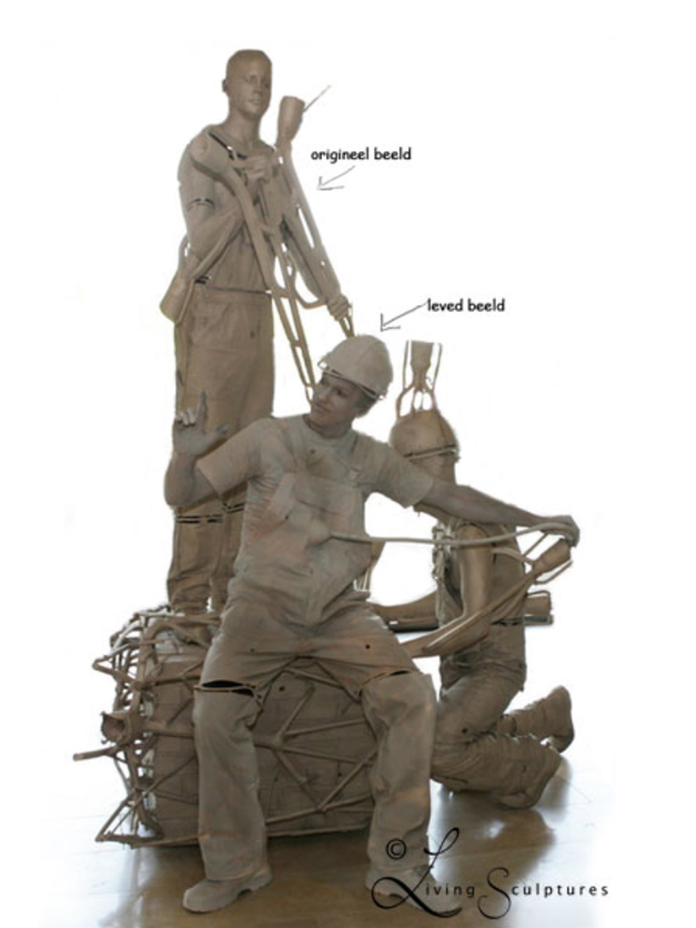 Maatwerk levend standbeeld Bouwvakker - In Constructie