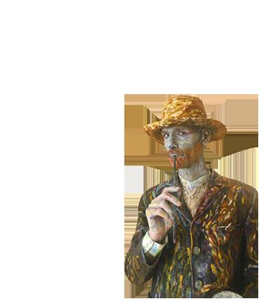 002 Vincent van Gogh - Living Statue - Levend Standbeeld