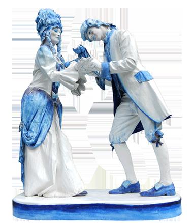 004 Duo Kitsch - Delftware - Living Statue - Levend Standbeeld