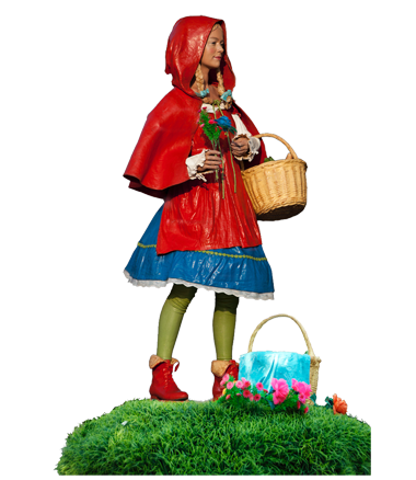 007 Roodkapje - Little Red Hiding Hood - Living Statue - Levend Standbeeld