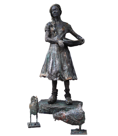 014 Boerinnetje Met Kippen - Feeding the Chickens - Living Statue - Levend Standbeeld