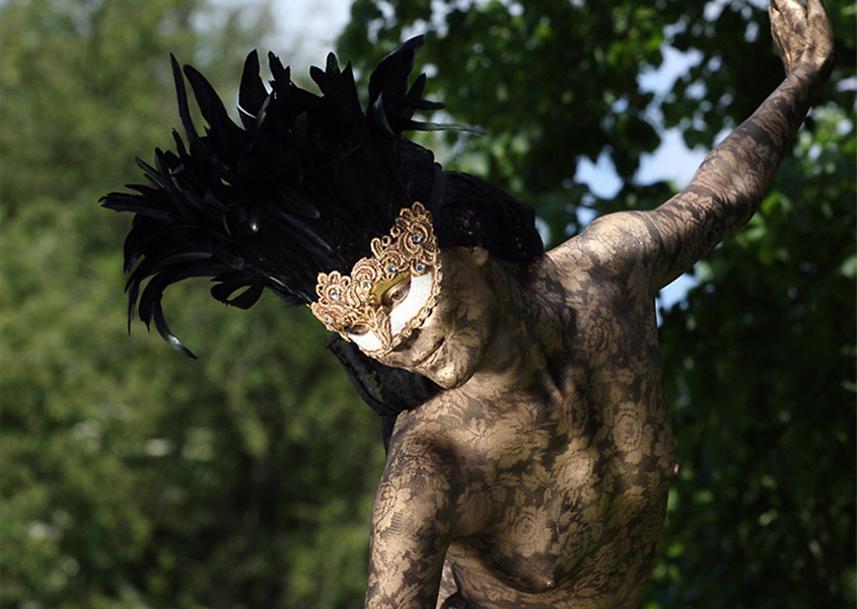058 Venetiaans Zwart Kant - Venetian Black Lace - Living Statue - Levend Standbeeld 01