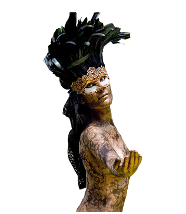 058 Venetiaans Zwart Kant - Venetian Black Lace - Living Statue - Levend Standbeeld