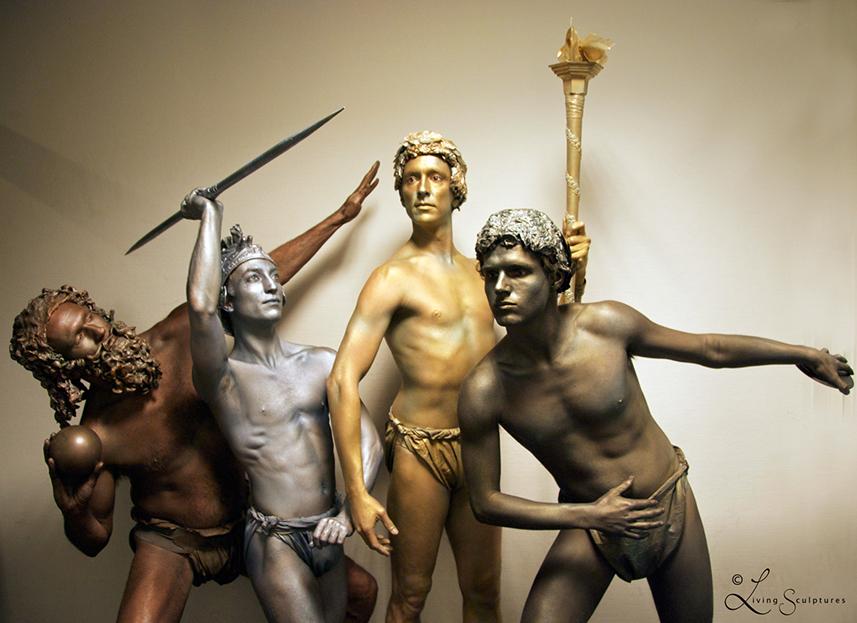 067 Olymische Beelden - Olympic Statues - Living Statue - Levend Standbeeld 01