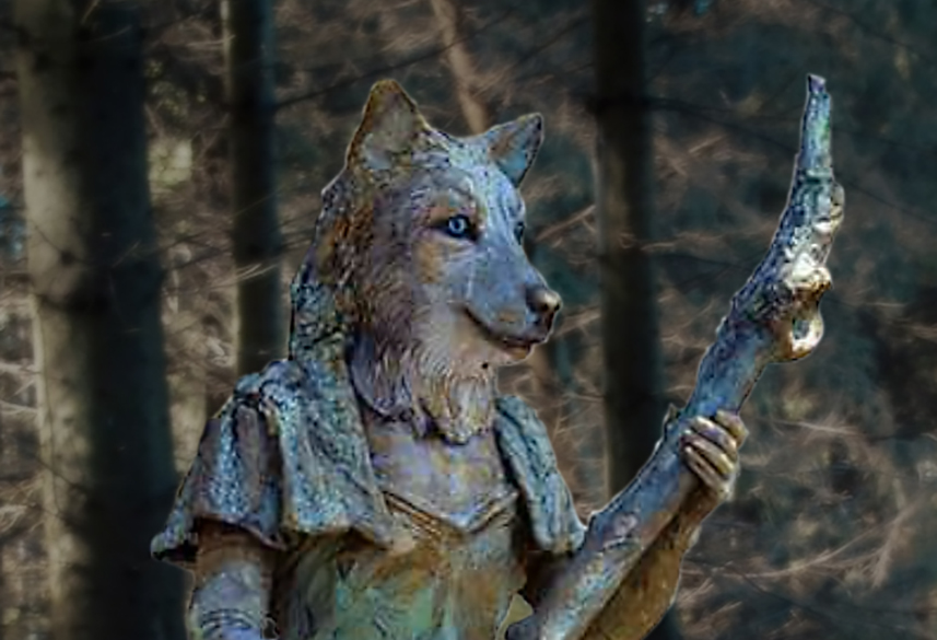 075 Wolvin - Wolf Woman - Living Statue - Levend Standbeeld 01