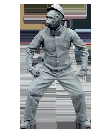 083 Bouwaap - Construction Monkey - Living Statue - Levend Standbeeld
