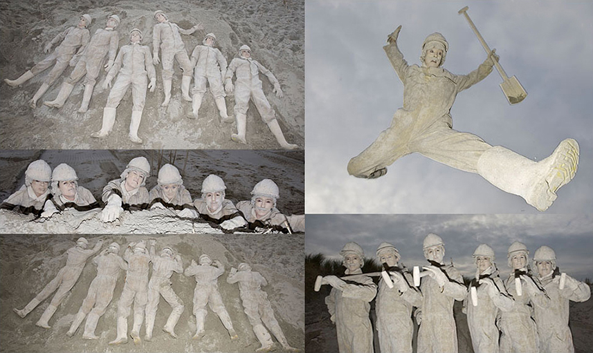 085 Zandwerkers - Sandy Workmen - Living Statue - Levend Standbeeld 01