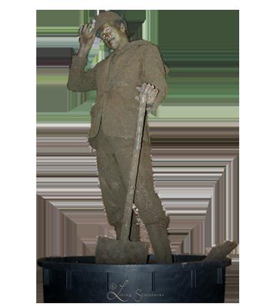 090 Grondman - Earth Man - Living Statue - Levend Standbeeld