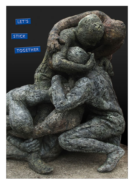 Postcard Let's stick together - Terra - sculptures art